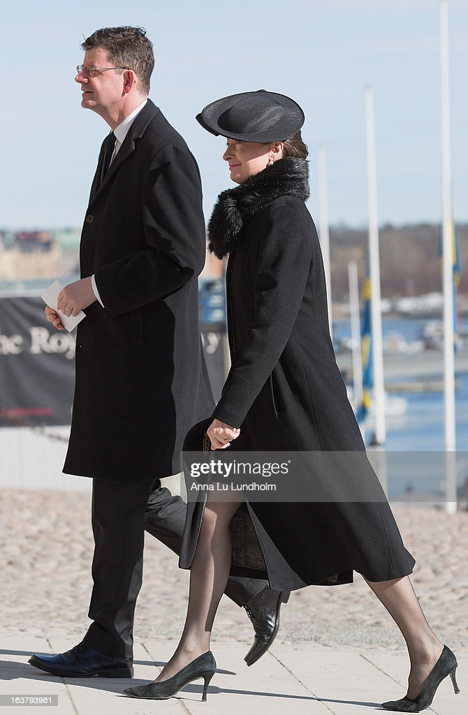 H.E. Mr. Paul Charles Johnston and Ambassador of the United Kingdom and Mrs. Nicola Johnston attend the funeral of Princess Lilian Of Sweden on March 16, 2013 in Stockholm, Sweden.