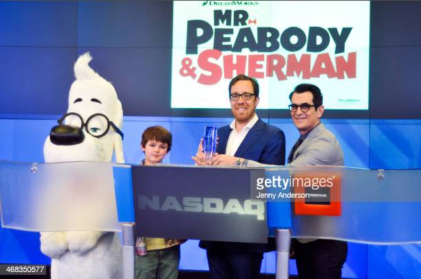 Mr Peabody Max Charles Rob Minkoff and Ty Burrell ring the opening bell at NASDAQ MarketSite on February 10 2014 in New York City