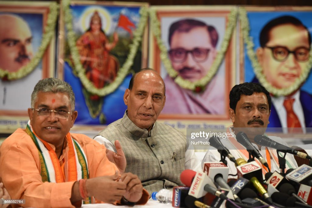 Mr. Rajnath Singh Indian Union Minister of Home Affairs and Indian ruling political party Bharatiya Janata Party senior leader along Dilip Ghosh State President of BJP meet the press after her Party Workers Internal Meeting for new plan coming Bengal Panchayat Election on April 14,2017 in Kolkata,India.