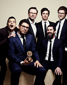 'Mr Robot' actor Rami Malek writer/director Sam Esmail actor Christian Slater and others pose for a portrait at the 75th Annual Peabody Awards...