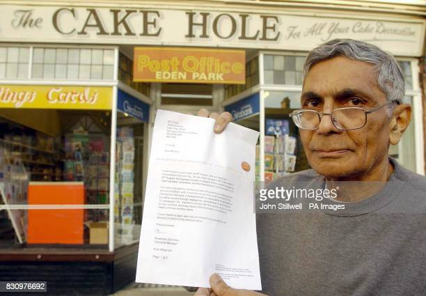 Mr Soli Dick outside his subpost office in Elmers End Road Beckingham Kent with his latest letter from the Post Office this evening *A...