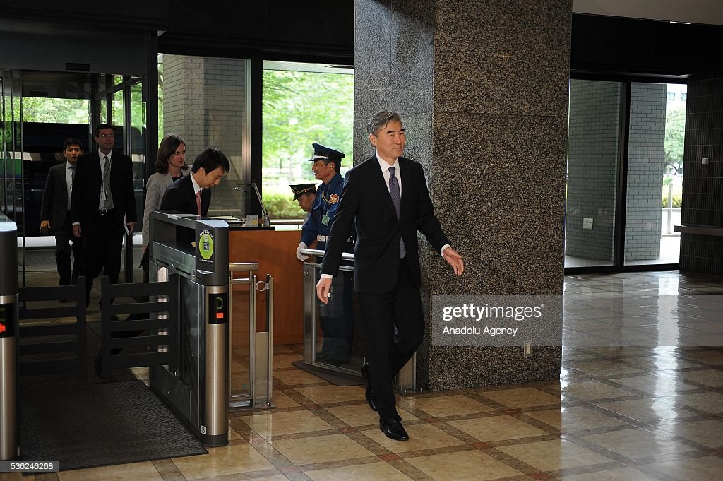 Mr. Sung Kim, Special Representative for North Korea Policy arrives at the Japan Ministry of Foreign Affairs to attend the Japan-U.S.-ROK Heads of Delegation Meeting of the Six Party talks in Tokyo, Japan, on June 1, 2016.