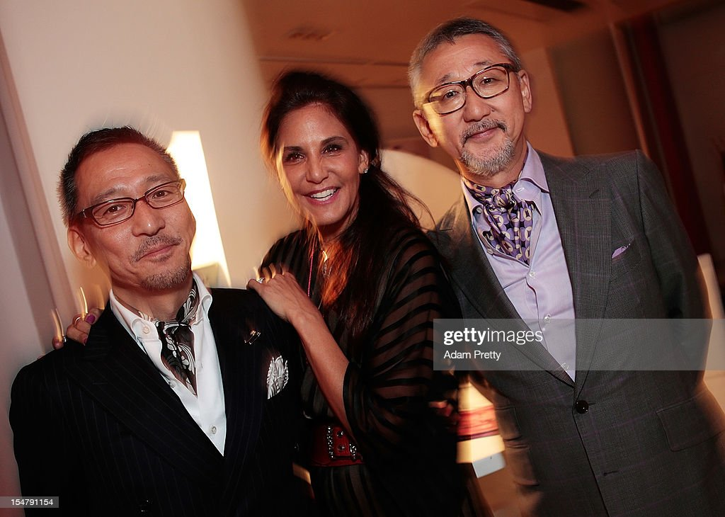 Mr Takeda of United Arrows, Laurie Lynn Stark co-owner of Chrome Hearts Mr Shigematsu of United Arrows enjoy the party during the ELLEgirl Night in association with Chrome Hearts at Fiat Caffe on October 26, 2012 in Tokyo, Japan.
