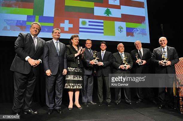 Mr Tigran Sargsyan Armenia Ambassador to the USA Hranush Hakobyan Minister of Diaspora present awards to Herald Albrecht Member of Parliament Denis...