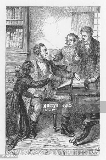 Mr Tulliver ordering Tom to write a bitter condemnation of lawyer Wakem in the front of the family Bible Illustration by Walter James Allen for an...