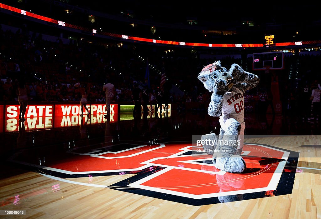 Mr. Wuf, mascot of the North Carolina State Wolfpact. performs during a game against the St. Bonaventure Bonnies at PNC Arena on December 22, 2012 in Raleigh, North Carolina.