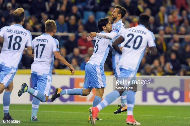 Mraco Parolo of SS Lazio celebrates a frist goal during the UEFA Europa League group K match between Vitesse and SS Lazio at Gelredome on September...