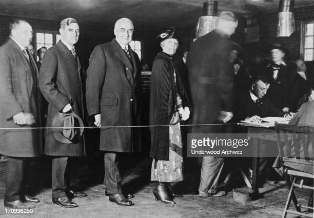 Mrand Mrs Warren G Harding stand in line to vote in the presidential election It was the first time women were allowed to vote for a president 1920