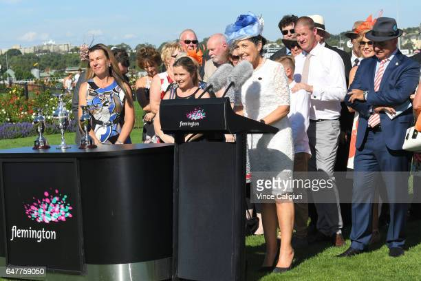Mrs Amanda Elliott Chairman of VRC during presentation after Hey Doc won Race 7 Australian Guineas during Melbourne Racing at Flemington Racecourse...