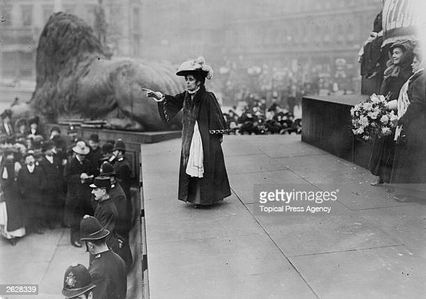Mrs Baines addresses a mass rally of suffragettes at Trafalgar Square London