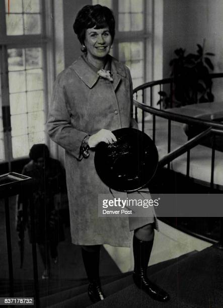 Mrs Barkley Clanahan was clad for rain when she arrived last week at Denver Country Club for the lecture on food and entertaining given by Helen...