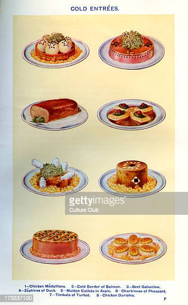 Mrs Beeton 's cookery book cold entrees Chicken medaillons Cold border of salmon Beef galantine Zephires of duck Mutton cutlets in aspic Chartreuse...
