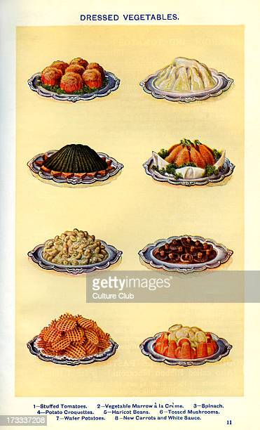 Mrs Beeton 's cookery book dressed vegetables Stuffed tomatoes Vegetable marrow a la crème Spinach Potato croquettes Haricot beans Tossed mushrooms...