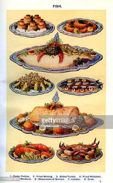 Mrs Beeton 's cookery book fish dishes Oyster patties Fried Whitting Boiled turbot Fried whitebait Mackerel Mayonnaise of salmon Lobster Crab New...