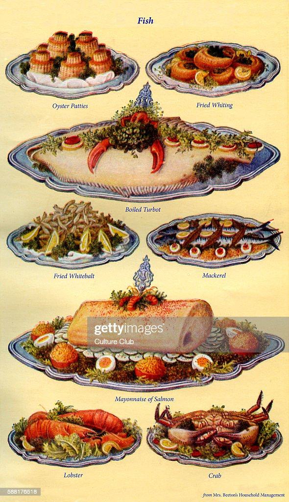 Mrs Beeton s cookery book fish dishes Oyster patties Fried Whitting Boiled turbot Fried whitebait Mackerel Mayonnaise of salmon Lobster Crab New...