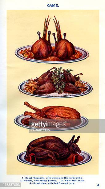 Mrs Beeton 's cookery book game Roast pheasants with chips and brown crumbs Plovers with potato straws Roast wild duck Roast hare with red currant...