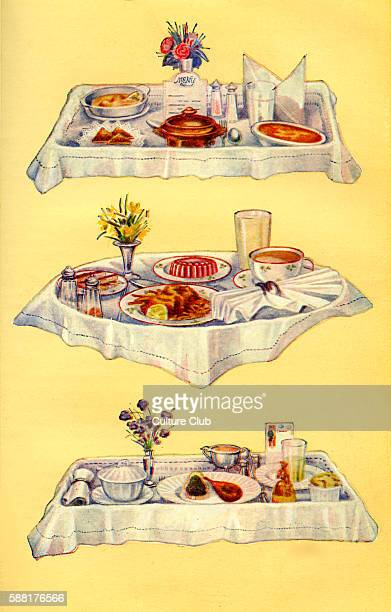 Mrs Beeton s cookery book invalid trays 1 Steamed fillets of sole fairy toast beef tea baked custard barley water 2 Toast fried soles and potato...