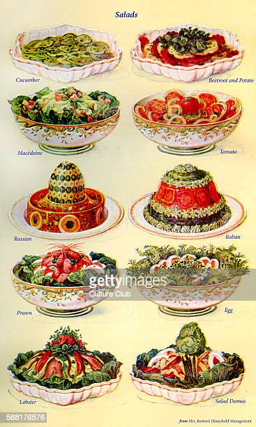 Mrs Beeton s cookery book salads Cucumber Beetroot and potato Macedoine Tomato Russian Italian Prawn Egg Lobster Salad Dumas New edition of the...