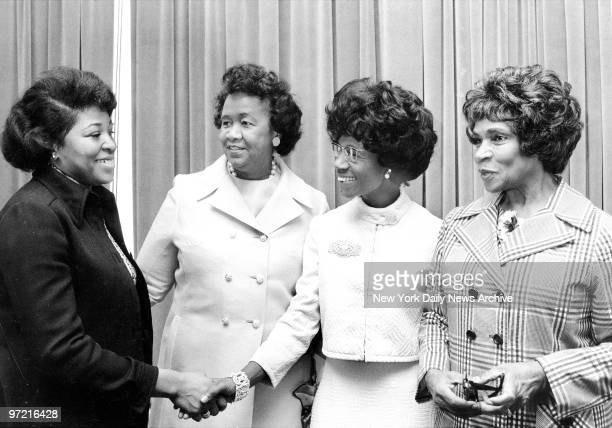 Mrs Betty Shabazz Dorothy Height Pres of NCNW Rep Shirley Chisholm and Marion Anderson Chairwoman 1972 Hunger Convocation