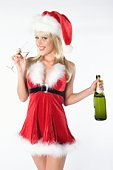 Mrs Claus with bottle of champagne