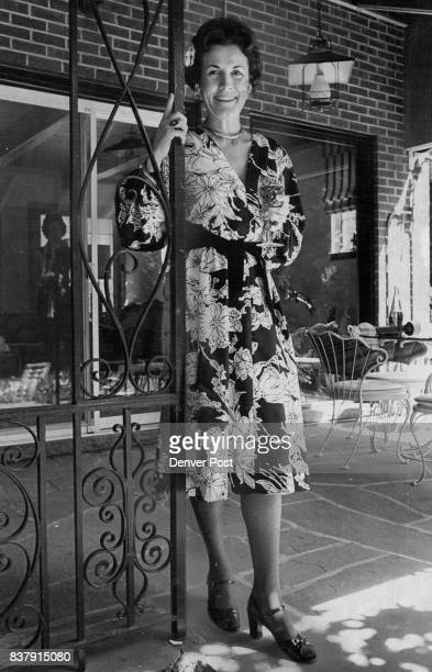 Mrs Daniel L Murphy wears a Jerry Silverman polyester black and white print dress with a cotton velveteen tie belt Credit Denver Post