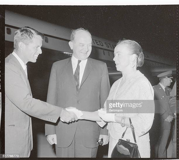 Mrs Dean Rusk greets Attorney General Robert Kennedy and her husband Secretary of State Dean Rusk