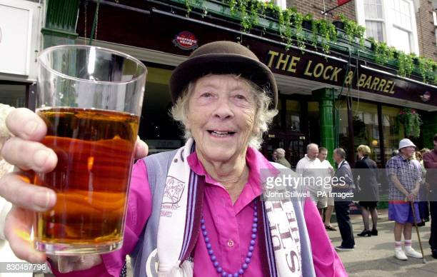 Mrs Doris Bell aged 84 celebrates the opening of 'The Lock and Barrel' the first and only pub ever to be opened in Frinton on Sea in Essex * The...