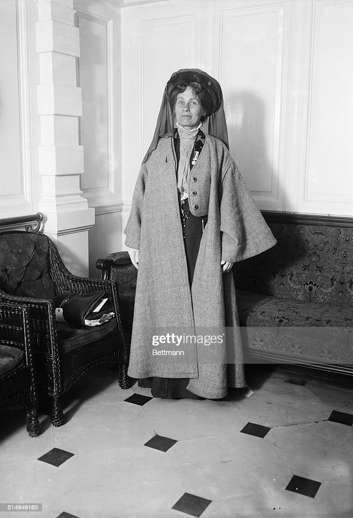 Mrs. <a gi-track='captionPersonalityLinkClicked' href=/galleries/search?phrase=Emmeline+Pankhurst&family=editorial&specificpeople=226667 ng-click='$event.stopPropagation()'>Emmeline Pankhurst</a>, the British suffragette, in full length pose wearing a hat and coat. Undated photograph.
