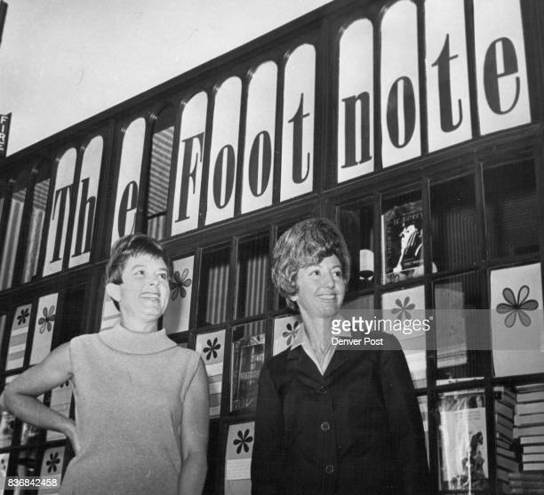 Mrs Frank Karsh right and Mrs Kenneth Morris are owners of The Footnote a bookstore that opened last fall patterned after Denver book stores of the...