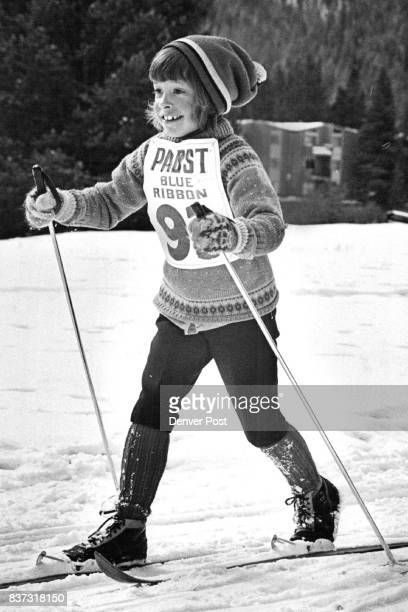 Mrs Freda Langell finishes the race with a burst of energy She is a certified crosscountry and Alpine ski instructor at Keystone Credit Denver Post