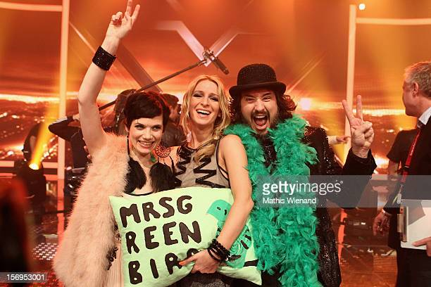Mrs Greenbird with Sandra Nasic attend the fourth and final 'XFactor' Show on November 25 2012 in Cologne Germany