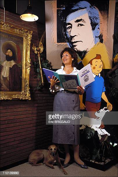 Mrs Herge A Baran and the last Tintin A Baran Dir Studios Herge in Brussels Belgium on July 2 1986