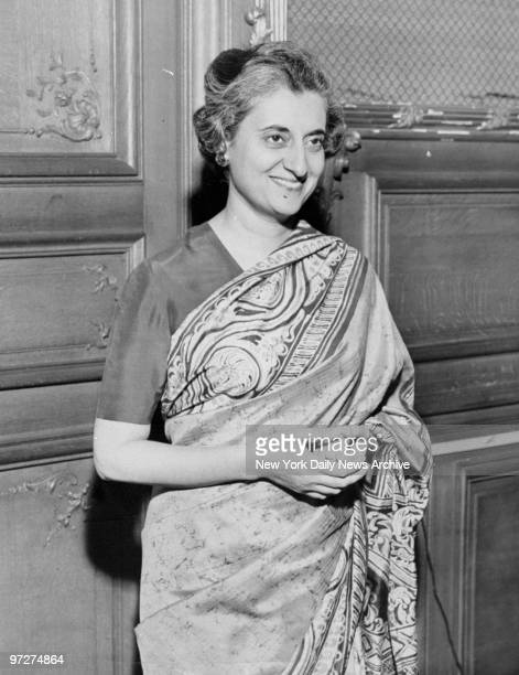 Mrs Indira Gandhi daughter of exPrime Minister Nehru at India House for India Relief Fund press conference