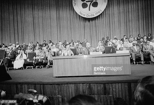 Mrs Indira Gandhi prime minister of India and Chairman Fidel Castro Cuba's president have a seat at the front table at the inaugural session of the...