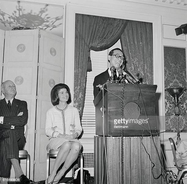 Mrs Jacqueline Kennedy and Architect Ieoh Ming Pei smile at a press conference called here by Senator elect Robert F Kennedy to announce the happy...