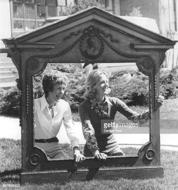 Mrs John Flobeck left and Mrs Roderick McCulloch examine antique mantel frame to be sold at auction Credit Denver Post