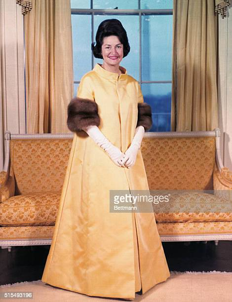 Mrs Johnson's Gown for Inaugural Ball Washington Mrs Lyndon B Johnson will wear this gown of doublewoven satin in jonquil yellow to the Inaugural...