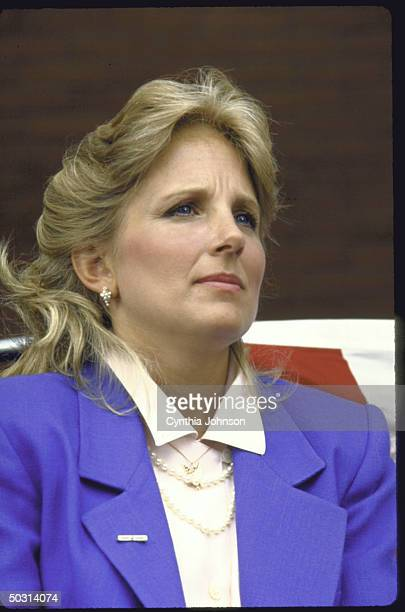 Mrs Joseph R Biden Jr watching as husband announces his candidacy for the Democratic presidential nomination