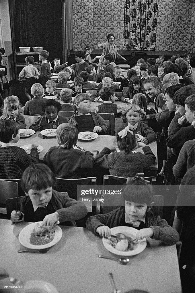Mrs Kathryn Ashenden supervising lunchtime for pupils of St John's C Of E Primary School during a teacher strike Kilburn London 13th September 1967