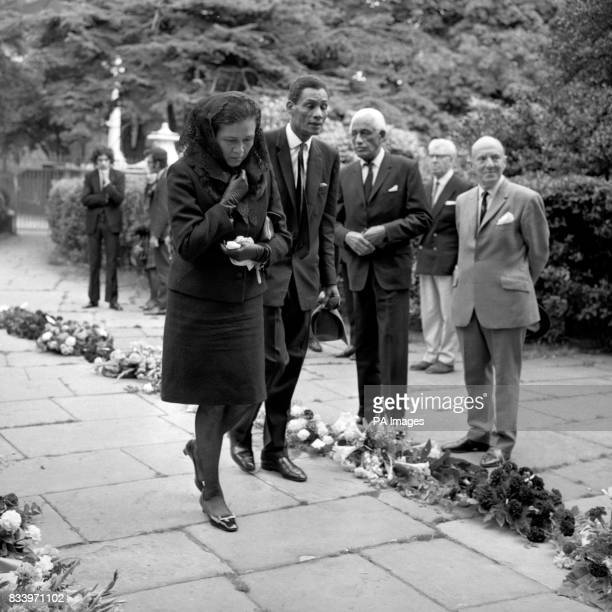Mrs Leslie Kennedy daughter of Leslie 'Hutch' Hutchinson the singing pianist of cabaret and variety at the funeral of her father at the church of St...
