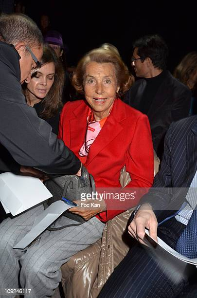 Mrs Liliane Bettencourt from L'Oreal attends the Franck Sorbier Front Row Paris Fashion Week Haute Couture S/S 2011 at Sotheby's on January 26 2011...