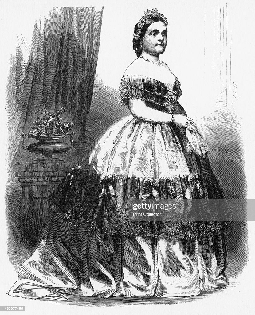 'Mrs Lincoln' c1860s The wife of President Abraham Lincoln shows one of her gowns on a trip to New York Illustration from Adventures of America...