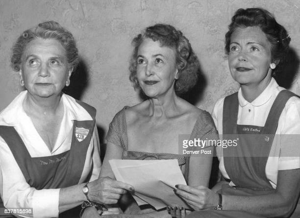Mrs Louis F McMahon president of St Joseph's Hospital Auxiliary Miss Eleanore Weckbaugh and Mrs Edith Malo Easton cochairmen of the auxiliary's...