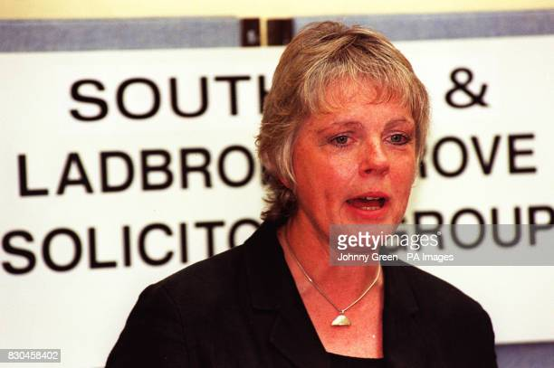 Mrs Louise Christian the solicitor leading Representatives of the Southall and Ladbroke Grove solicitors group at a press conference in London...