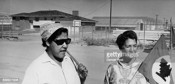 Mrs Lupe Briseno left president of Striking Greenhouse workers and Mrs Lena Dye Treasurer Picket Kita Often alone in her vigil at the greenhouse gate...