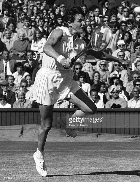 Mrs Margaret Court the Australian number one tennis seed on the attack during her ladies singles match against Winnie Shaw of Scotland They are...