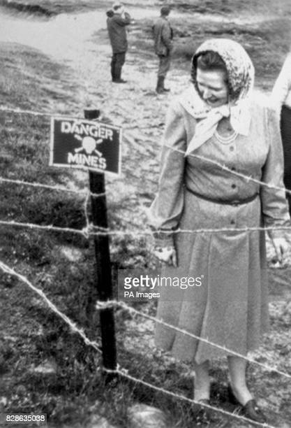 Mrs Margaret Thatcher examining a minefield during her visit to the Falkland Islands when the Royal Engineers took her on a tour of the Rookery Bay...