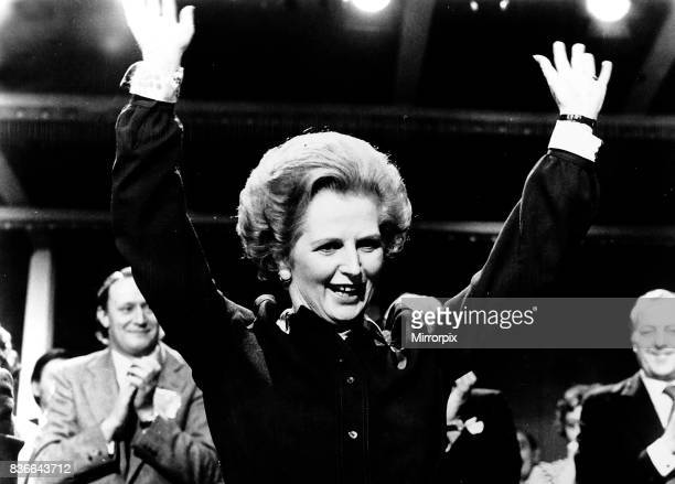 Mrs Margaret Thatcher the UK's first woman Prime Minister takes the applause in 1980 her first year in office Education Secretary in Heath's 1970...