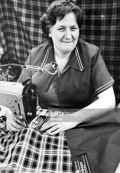 Mrs Marjorie Landles a the J Barbour factory making the all weather Game Fare breeches for Her Majesty the Queen in 1979