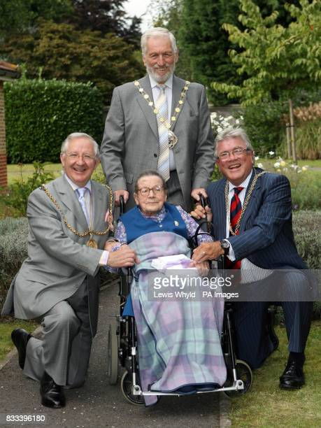 Mrs Mary Brown celebrates her 110th birthday with three Mayors Councillor Tony GordonSmith Cllr Maurice Byham and Cllr Mike Nevins during her party...